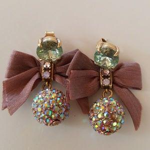 J Crew Crystal Drop Bow Earrings